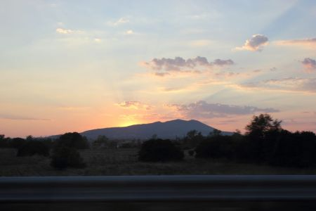 Sunset in Greece captured from a car